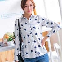2015 Fashion Women Blouses Casual Chiffon Shirt Five-Pointed Star Blouse Women's Lapel Long Sleeved Shirts Ladies Chiffon Blouse
