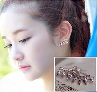2014 Big Promotion New Korean Unique Design Full Stone Eyelashes Stud Earring free shipping  E445