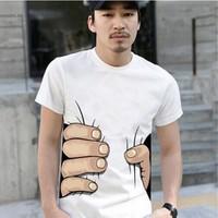 New fashion 2014 men's short sleeve 3D designer Big hand t shirt Men Tops tees plus size cotton clothing camisetas masculinas