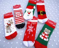 2014 Fashion winter baby christmas socks boy girl's Cartoon socks thicken warm cotton baby socks newborn