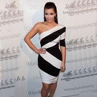 Cocktail Party Dress 2014 New Arrival Celebrity Dresses Kim Kardashian One Shoulder White and Black Block Bodycon Midi Dress