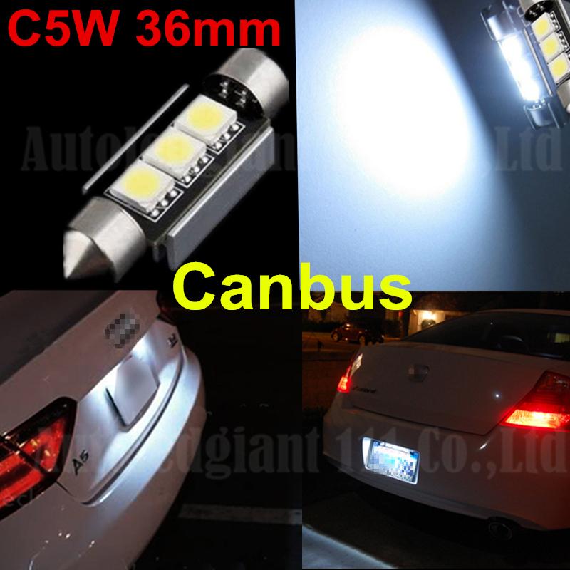 CANBUS Error Free C5W 36mm Festoon Cold White 3 SMD DE3423 6418 3LED 12v Car Interior Bulb License Plate Light For BMW Audi Benz(China (Mainland))