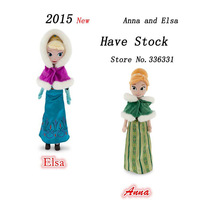 "2015 New High Quality Boneca Winter Anna Elsa Plush Dolls 40cm/16"" Princess Doll Plush Toys Kids Dolls for Girls Free Shipping"