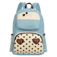 2014 new arrived unisex wild hot sell double loving heart canvas bag backpack travel bag Korea style leisure bag shouder bag