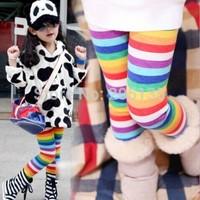 2014 New Autumn Winter Baby rain striped leggings children kids winter fleece pants retail 3-7 years