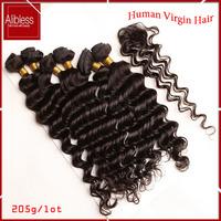 Cheap Malaysian deep wave 6pcs lot,Malaysian virgin hair with closure,100 human hair weave,soft and full curly hair extensions
