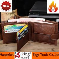 B.King New European Style Casual Real Leather Short Desigual Men Wallets Buckle Closure Coin Pocket Zipper Men Wallets