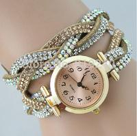 Free shipping 2015 fashion casual 2pcs creative bracelet watch diamond Wristwatches 8 colors--fdf