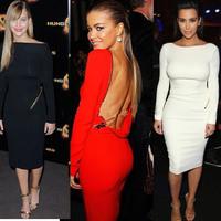 Sexy Celebrity Dresses Women 2014 Kim Kardashian Scoop Neck Long Sleeve Knee Clothes Short Party Backless Zipper Pencil Dress