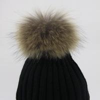 2014 Fall and winter fashion women fur ball elastic hair bands 9cm 13 cm 15 cm raccoon fur ball for hats