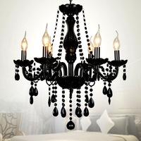 Black Crystal Pendant Light K9 Crystal Chandelier Lamp Candle Light  Living Room Lights bedroom chandelier