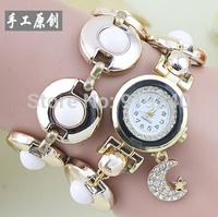 Free shipping 2015 fashion casual 2pcs creative female flowers pearl bracelet watch diamond Wristwatches 2 colors--bvc