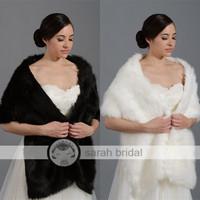 2015 New Warm Black Faux Fur Bridal Bolero High Quality White Free Size Stole Cape In Stock Wedding Accessories Wraps 17-005