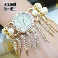 Free shipping 2015 fashion casual 2pcs creative female flowers pearl bracelet watch diamond Wristwatches 8 colors--bvc