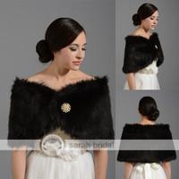 In Stock 2015 Hot Black Faux Fur Warm Women Bolero Winter Graceful Wraps Shawls For Girls For Occasion Dresses 17-009