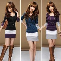 Feitong 1PC High Quality Womens Casual Long Sleeve Bodycon Stripe Party Mini Dress Vestido Plus Size XL Free Shipping