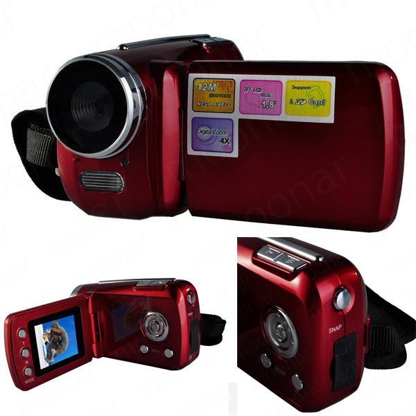 Mini DV 1.8 inch D1 Pcs Camera 4 x Digital Zoom 12 Mega pixel TFT LCD Camcorder with Hand Grip Black/Red JL*DA0471-3(China (Mainland))