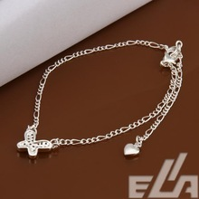 925 silver foot chain pulseras pie sexy leg bracelet crystal butterfly jewelry for shoes slave anklet