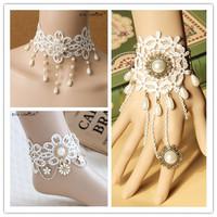 Necklace+bracelet+anklet set 24k gold jewelry set white lace designer women jewelry set enamel jewelry pearl set