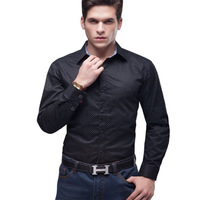 5XL Plus size men long sleeve spring autumn shirt imported clothing casual slim fit black dotty Free shipping