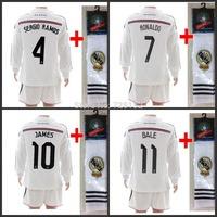 14-15 children Real Madrid home long sleeve football suit Kids wear uniform cristiano ronaldo james bale jersey short sock Set