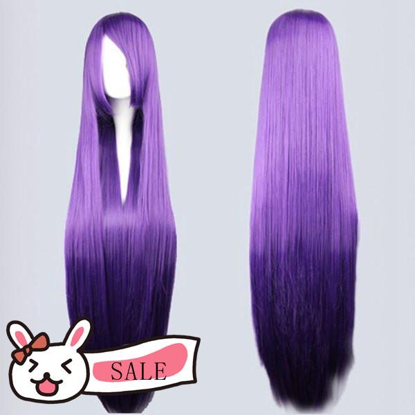 100cm Umineko no Naku Koro ni-Frederica Bernkastel Anime Cosplay Long Purple Wig(China (Mainland))