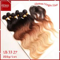 T1b/33/27 3 tone ombre Peruvian hair weave,6a Peruvian loose deep wave virgin hair 6pcs lots,soft full loose deep Peruvian hair