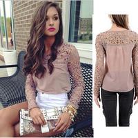 Many Color Women Summer Autumn Chiffon Lace Spliced Top Blouses Shoulder Long-Sleeve Hollow Clothes Ladies Shirts Wear Plus Size