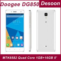 Original Doogee Hitman DG850 Cell phone MTK6582 Quad Core 1GB RAM 16GB ROM  Android 4.4 5Inch IPS 1280X720 13MP GPS Mobile Phone