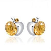 Korea style Austrian crystals 925 sterling silver Apple shape earrings,free shipping.