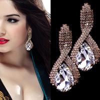 2014 New Arrived Brincos Fine Jewelry Earring For Women, Fashion Big Crystal Earrings Water Drop Long Gold Earrings XHP029