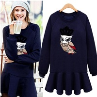 New Arrival 2014 Plus Size Autumn/Winter Long Sleeve O-Neck OWL Print Dress Thick One Piece Dress Women