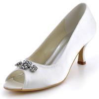 Fashion Shoes EP2038  Ivory Euro 37/US 6  Peep Toe Rhinestone  2.5inch  High Heel Satin Ladies Shoes Wedding Pumps