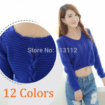 12 цветов новое поступление! женщины мода обрезанные свитер с длинным рукавом выдалбливают ...