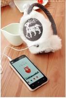 5 pieces heart deer snowflake soft fur Plush Music headphones wire Plush Ears Earmuffs Phone Headset earphone