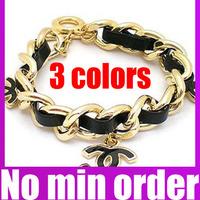 Hot sale 3 colors Punk Braid Leather CC Charm Bracelet Girls Bracelet - no minimum order