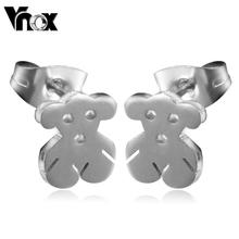 Promotion cute bear stud earrings for women silver plated stainless steel jewelry
