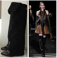 Hot sale 2015 fold over knee high boots gladiator riding wedge woemn boots designer leather booties brand shoes woman