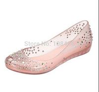 2014 Ladies Melissa Diamond Crystal Sandals Women Swarovski Fish Mouth Transparent Jelly Shoes/rhinestone sneaker size 36--41