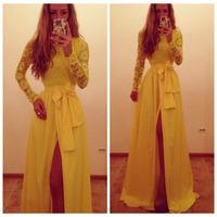 Yellow Vestidos de festa femininos 2014 Sexy casual Lace Chiffon Maxi Dress Party Evening Side Slit Long Dresses Gown de renda