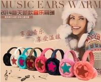 2015 new 2 in 1 winter Fashion colorful stars Plush Music headphones wire fur Ears warm Earmuffs Phone Headset