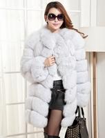 2014 Luxury Lady Genuine Real Fox Fur Coat Jacket Patchwork Winter Women's Fur Trench Outerwear Coats Long Sleeve VK1473