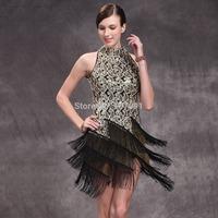 Tassel Prom Dress New Fashion Short Latin Dance Costume women sexy party Nightclubs dresses 5 pcs