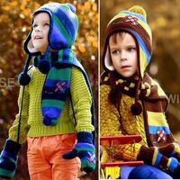 Cute Super 1set stripe plus velvet kids Hat scarf Sets, lovey Children's Girl/Boy handmade Cap Scarf Sets