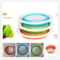 1Pcs Multifunction Foldable Round Fruit Vegetable Washing Draining Basket Fruit Plate Storage Basket Orange/Blue/Pink EJ871593