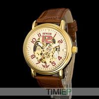Men's Mechanical Steampunk Skeleton Hand Wind Watch Mens Dress Watches Gold Tone