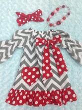 baby girls heart dress valentines dress with matching headband and chunky necklace set(China (Mainland))