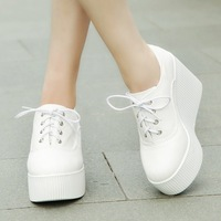 2014 new autumn canvas wedges shoes  platform casual shoes  lacing women's ultra high heels shoes DZD18