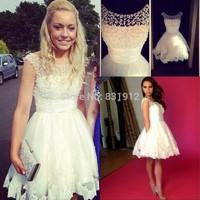 2014 Charming White Homecoming Dress Lace Scoop Neck Beads Princess A Line Sexy Short Mini Vestidos de fiesta  Party Dresses