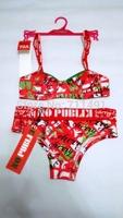 Breathable comfortable small size 70A/80A/85A bar solid color young girl brief bra set  carton design with hanger